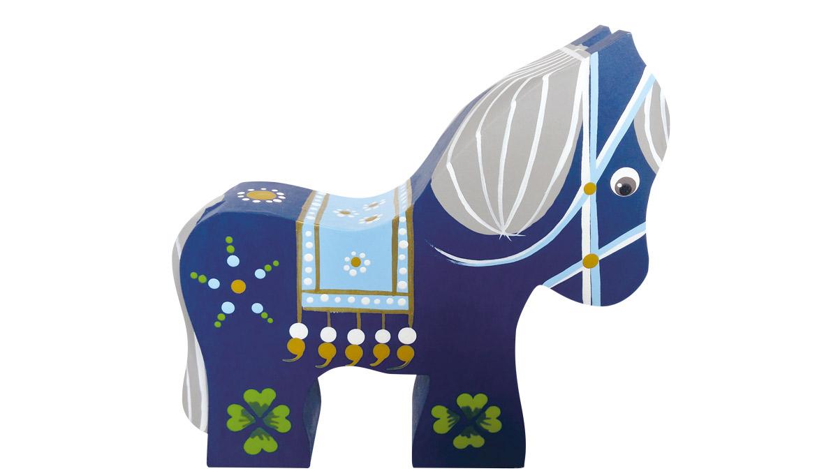 Hest i blå med kløver