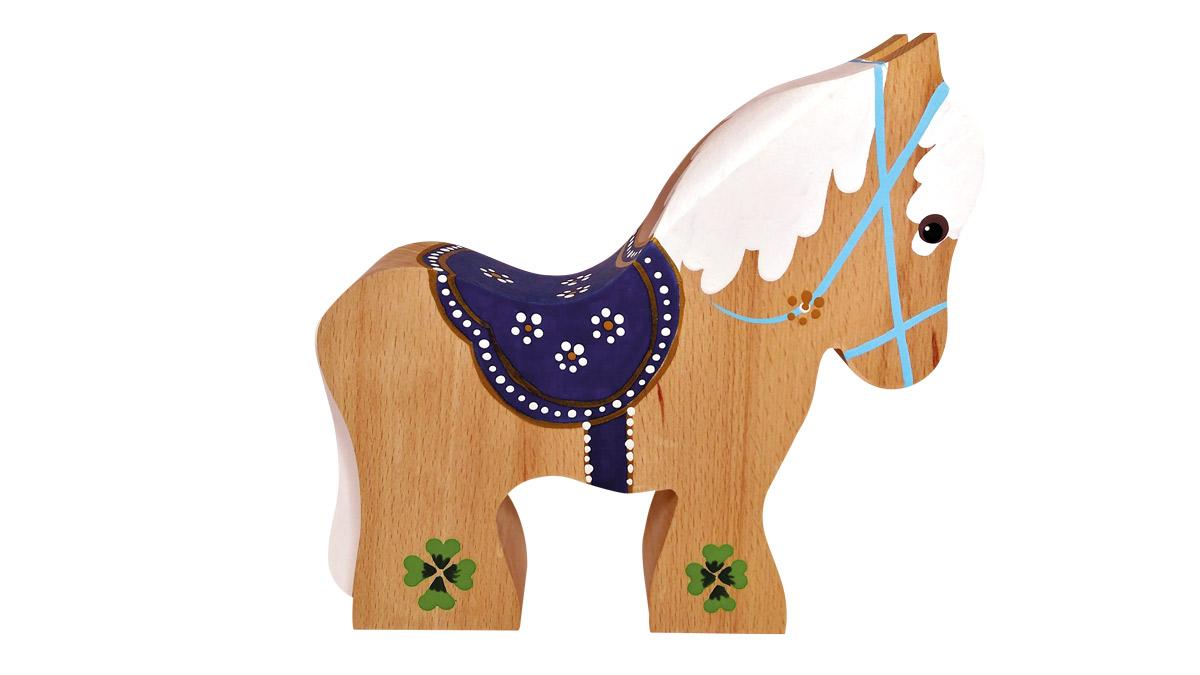 Heste i bøgetræ med blå sadel