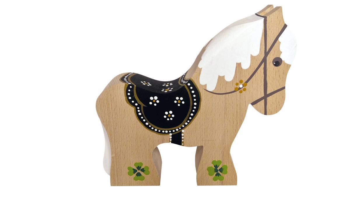 Heste i bøgetræ med sort sadel