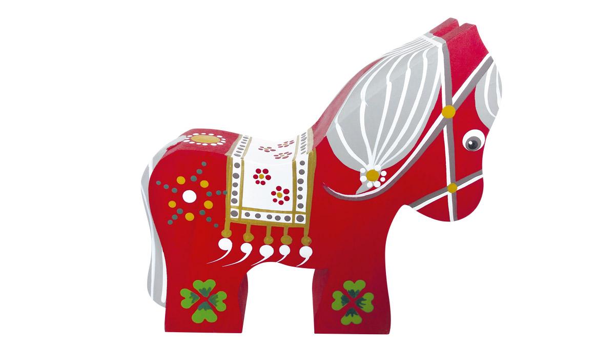 Hest i rød med kløver